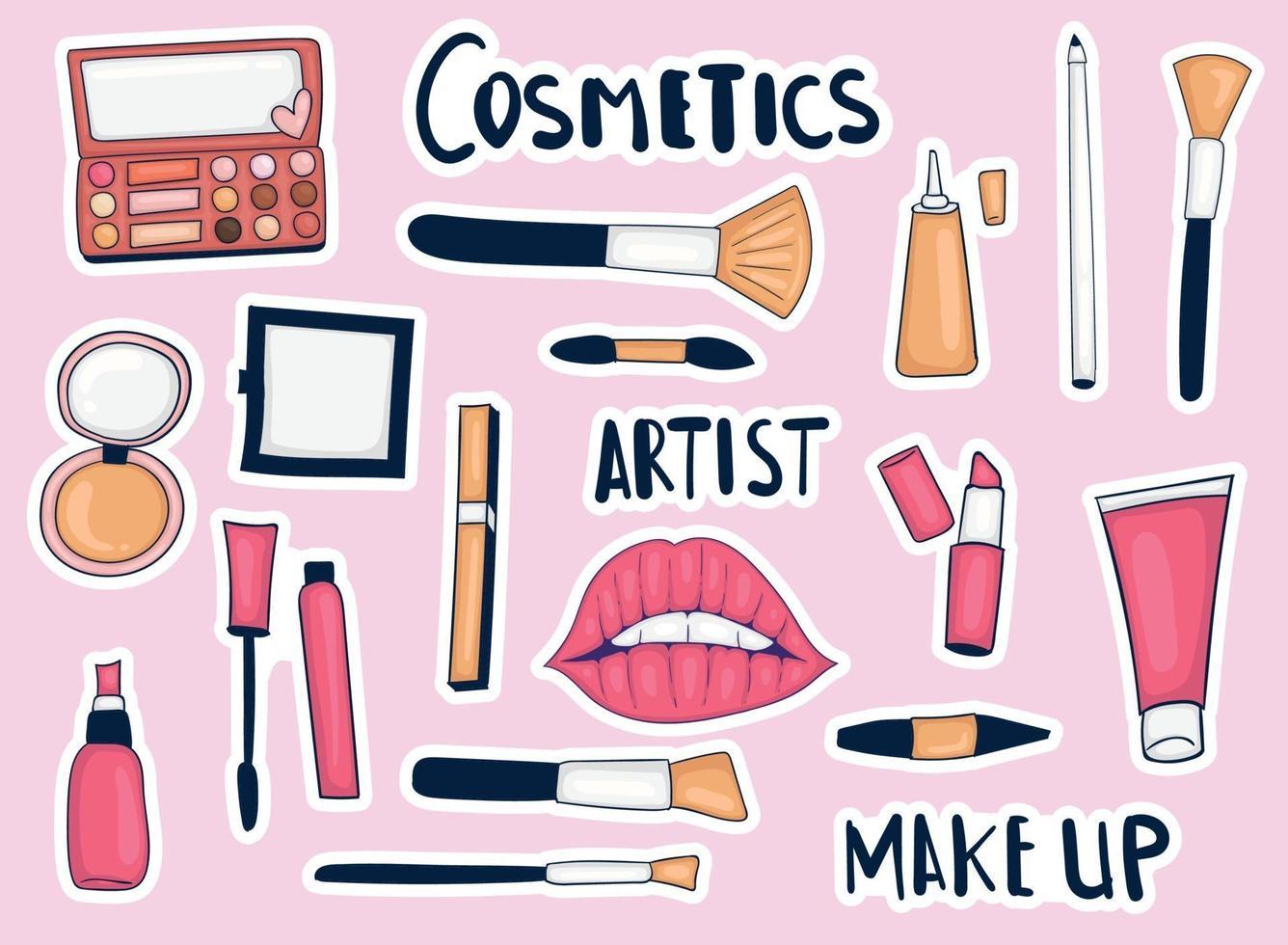 coleção de adesivos coloridos desenhados à mão para ferramentas de maquiagem vetor