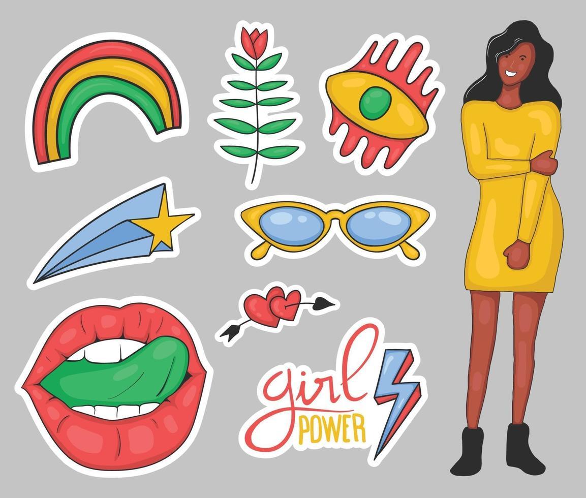 coleção colorida de adesivos de poder feminino desenhados à mão vetor