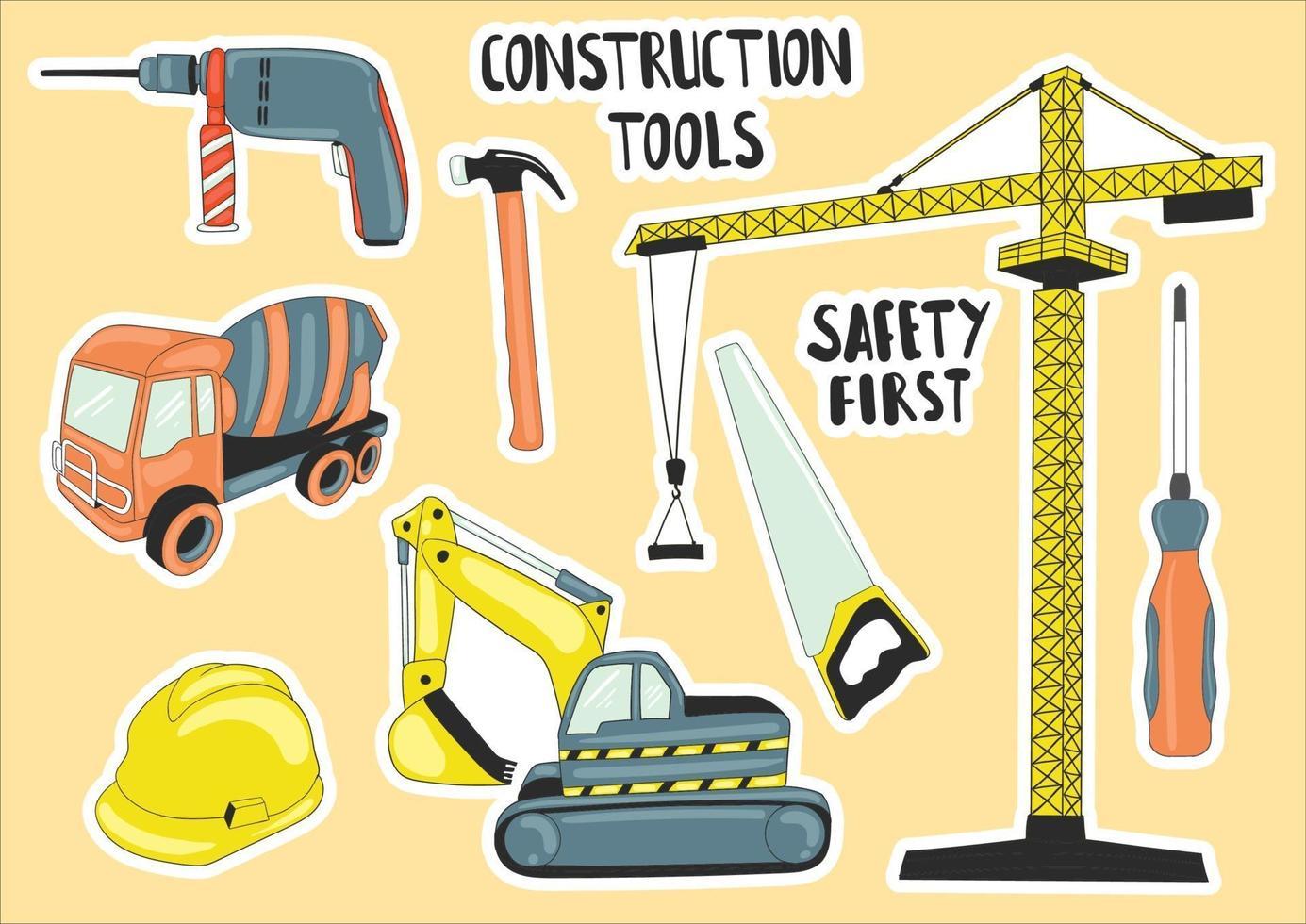 elemento de ferramentas de construção colorido desenhado à mão vetor
