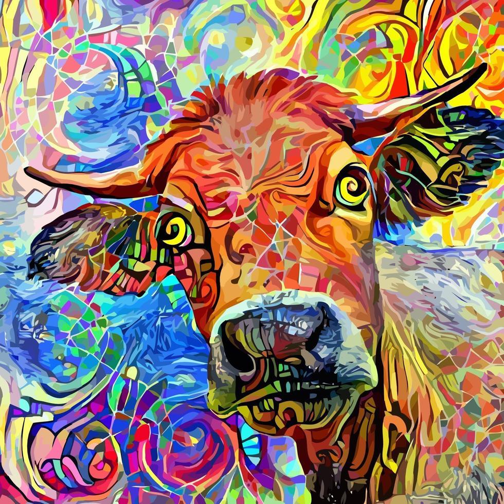 pintura de retrato impressionista de vaca macho de fazenda vetor