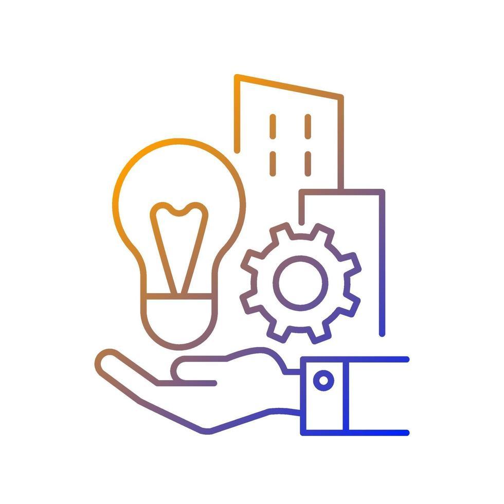 ícone de vetor linear gradiente de invenções da empresa