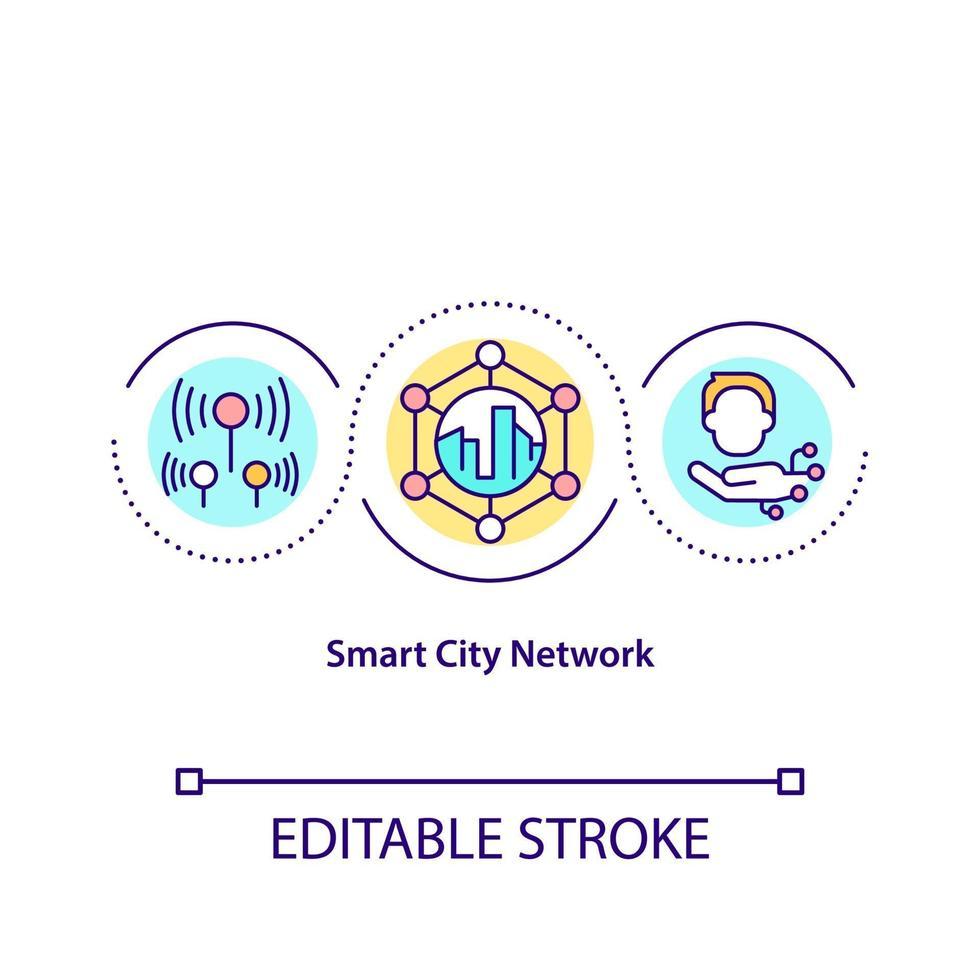 ícone do conceito de rede de cidade inteligente vetor
