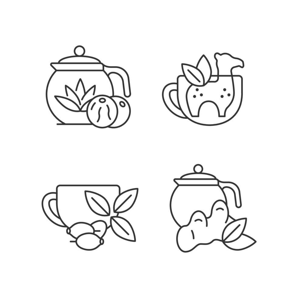 conjunto de ícones lineares de chá medicinal vetor