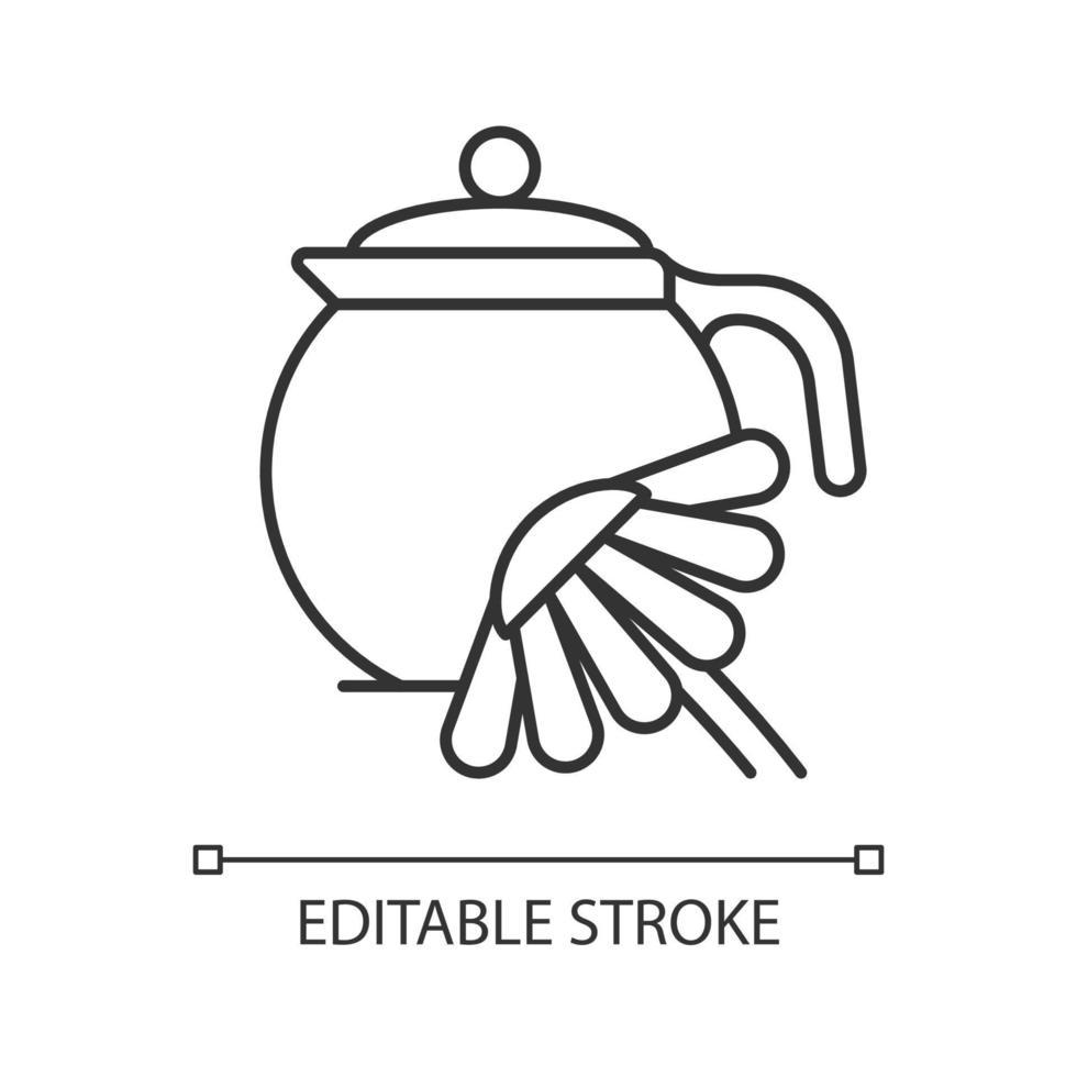 ícone linear de chá de camomila vetor