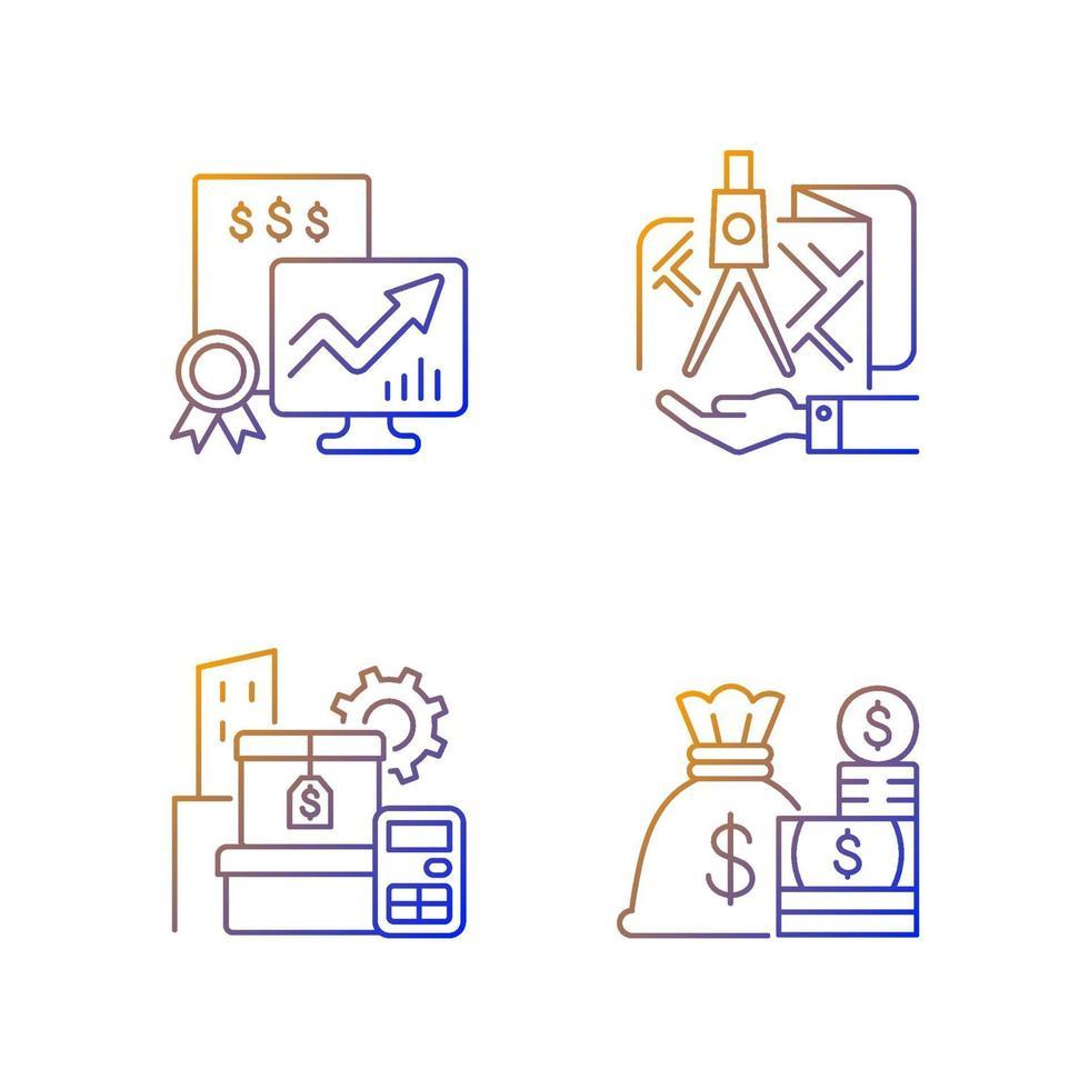 conjunto de ícones de vetor linear gradiente de gerenciamento de ativos