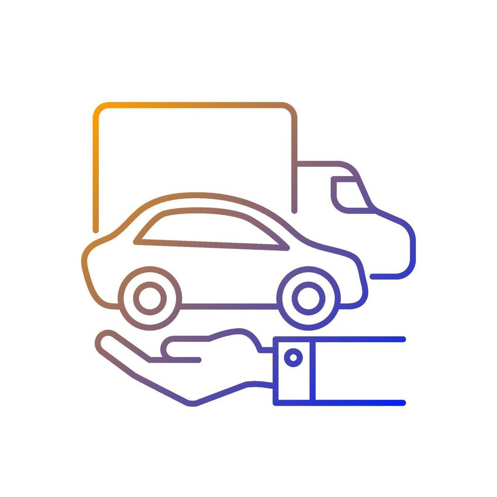 ícone de vetor linear gradiente de veículos de propriedade da empresa