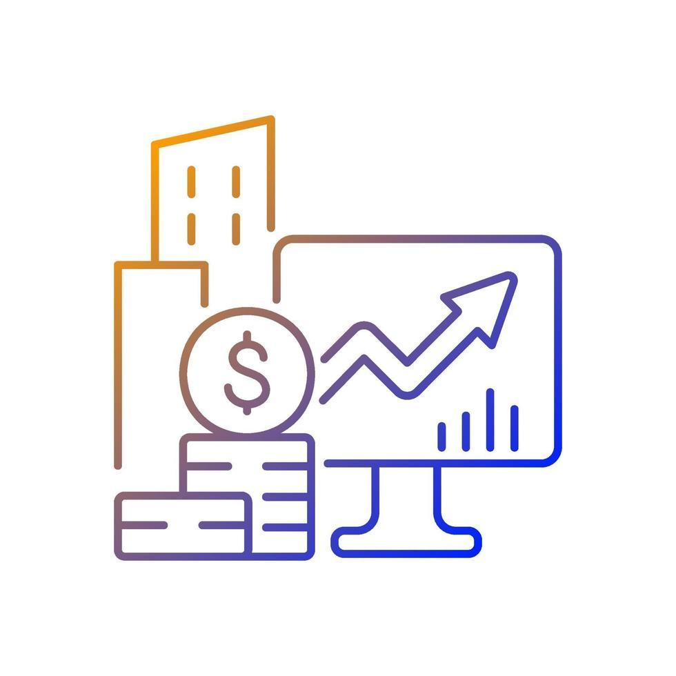 ícone de vetor linear gradiente de ações da empresa