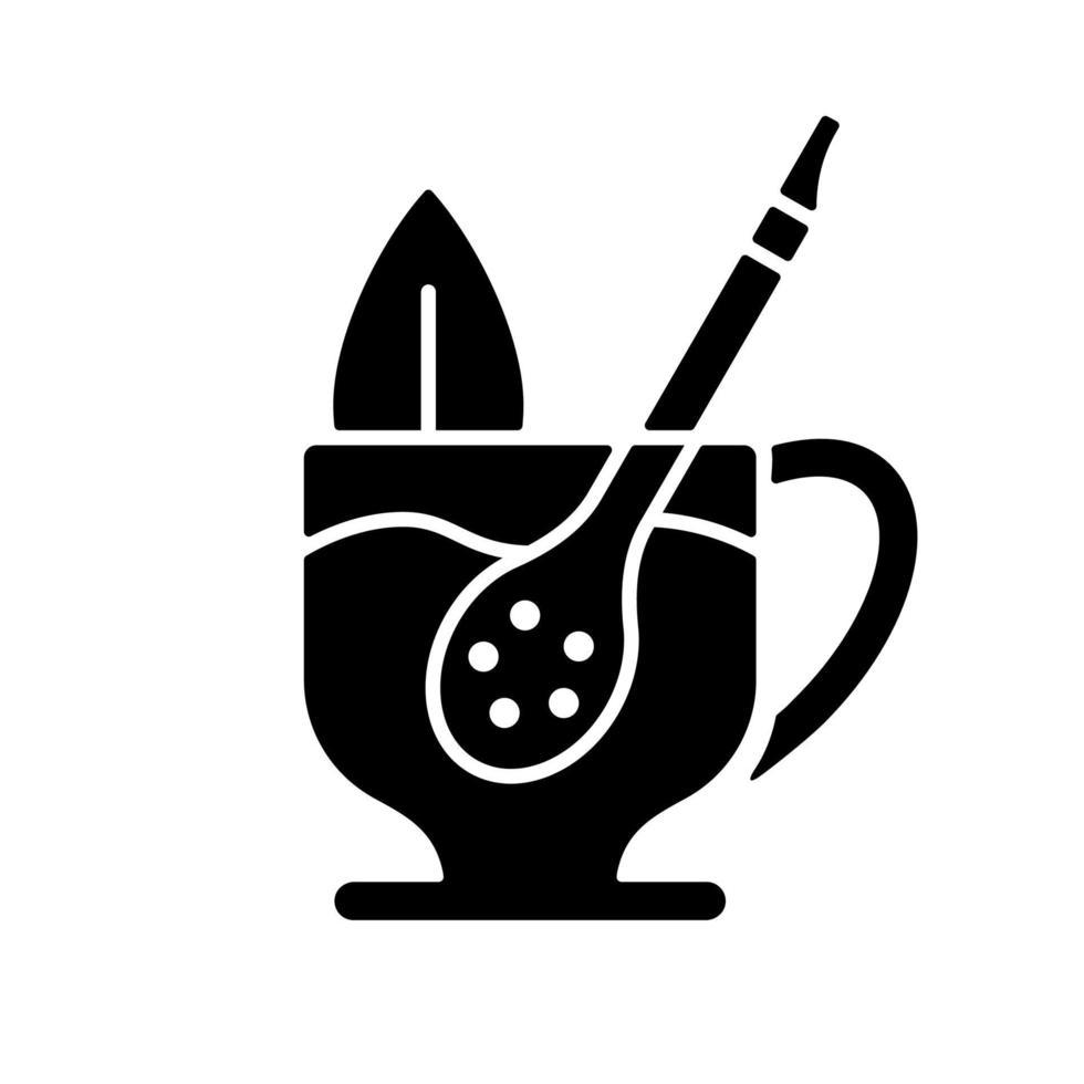 ícone de glifo preto palha de companheiro vetor