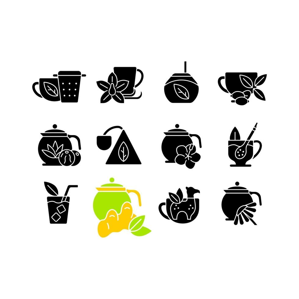 ícones de glifo preto relacionados a beber chá definidos no espaço em branco vetor
