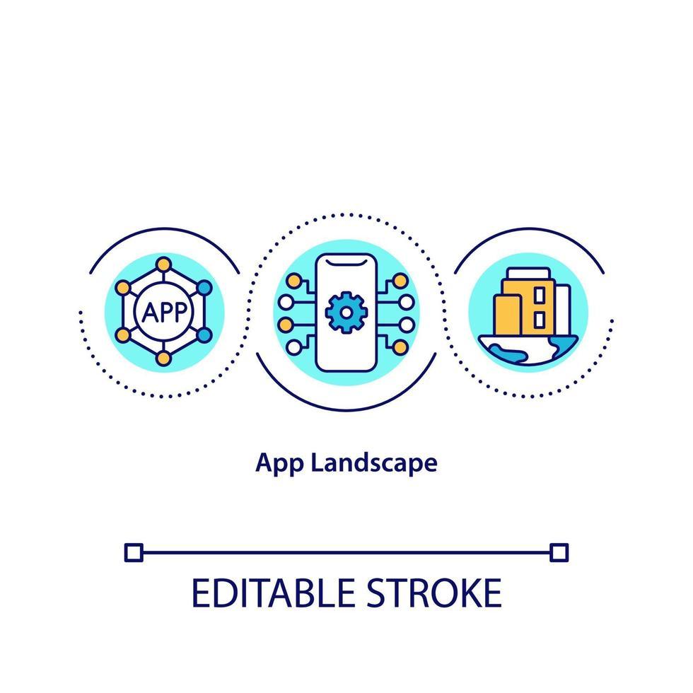 ícone do conceito de paisagem do aplicativo vetor