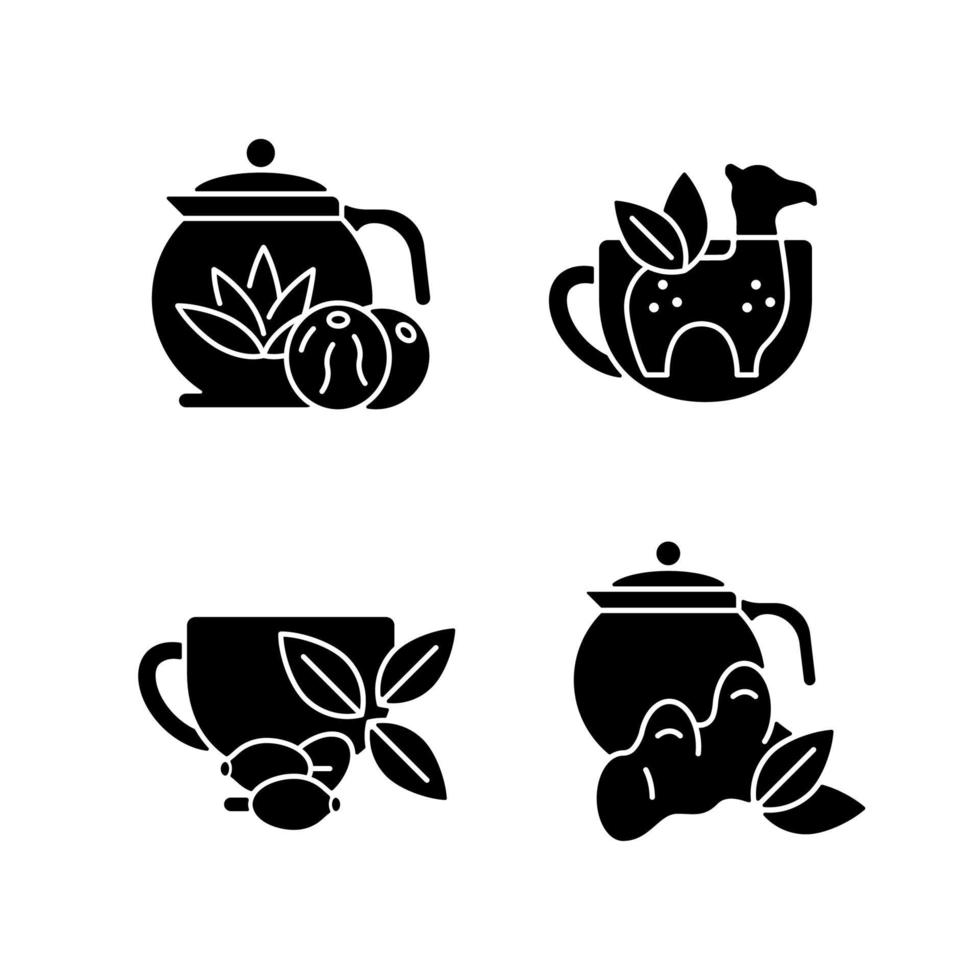 ícones de glifo de chá preto medicinal definidos no espaço em branco vetor