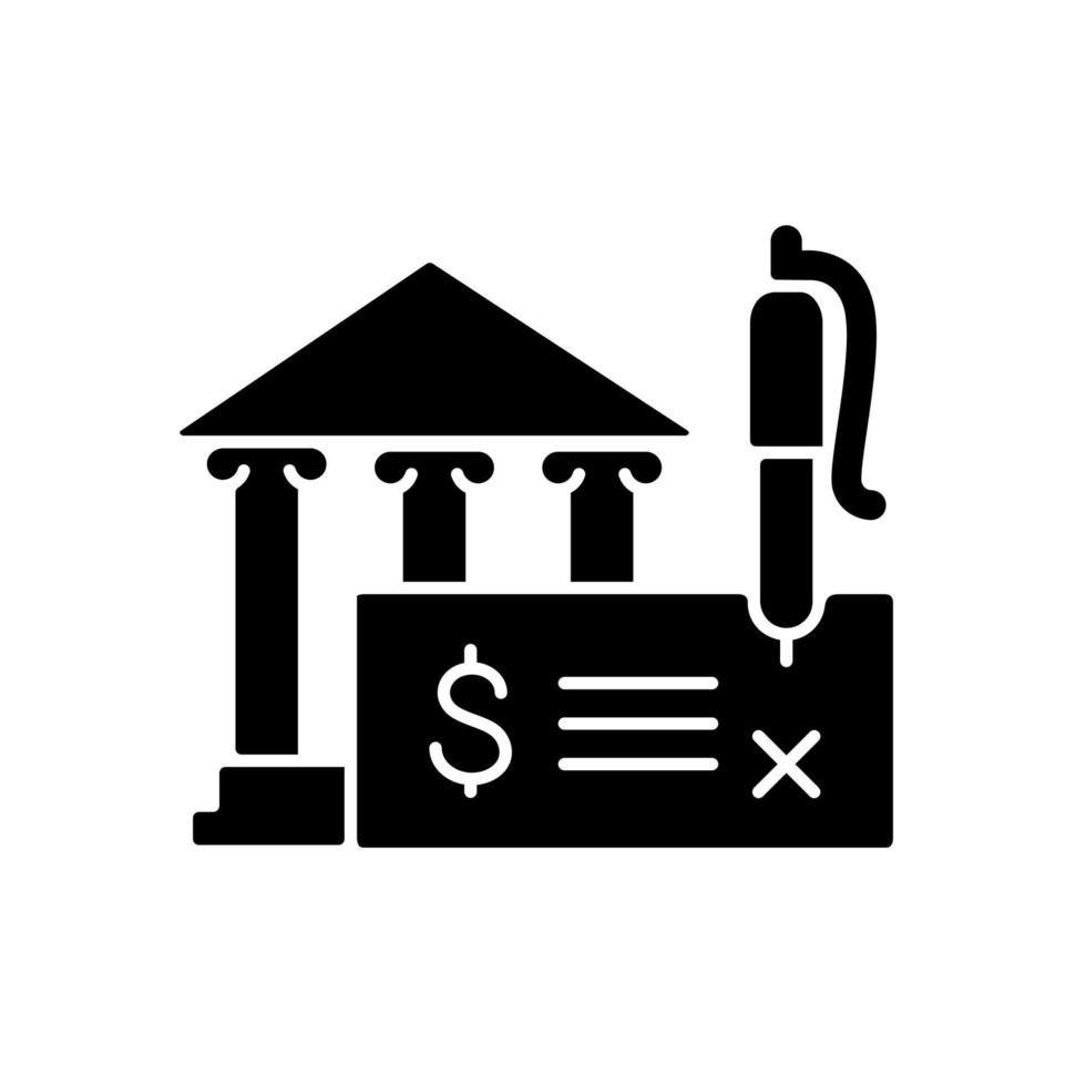 ícone de glifo preto de cheque bancário vetor