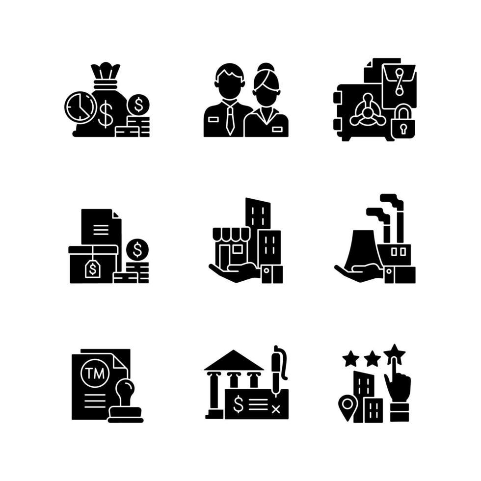 ícones de glifo preto de desenvolvimento de negócios definidos no espaço em branco vetor