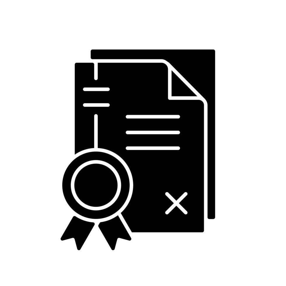 ícone de glifo preto de patentes vetor
