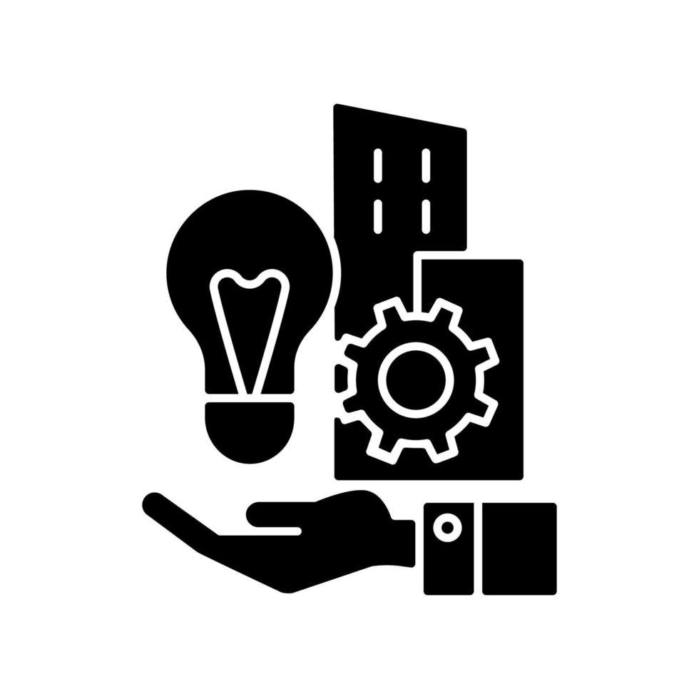 ícone de glifo preto de invenções da empresa vetor
