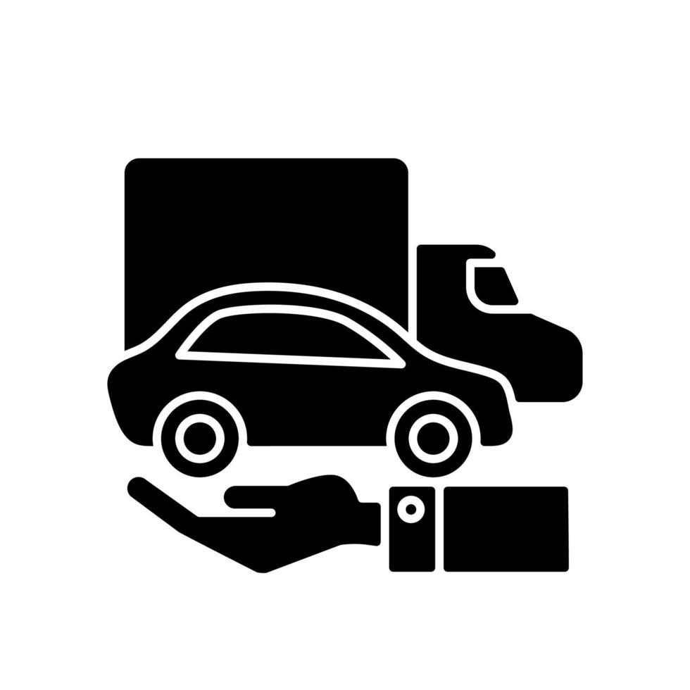 ícone de glifo preto de veículos de propriedade da empresa vetor