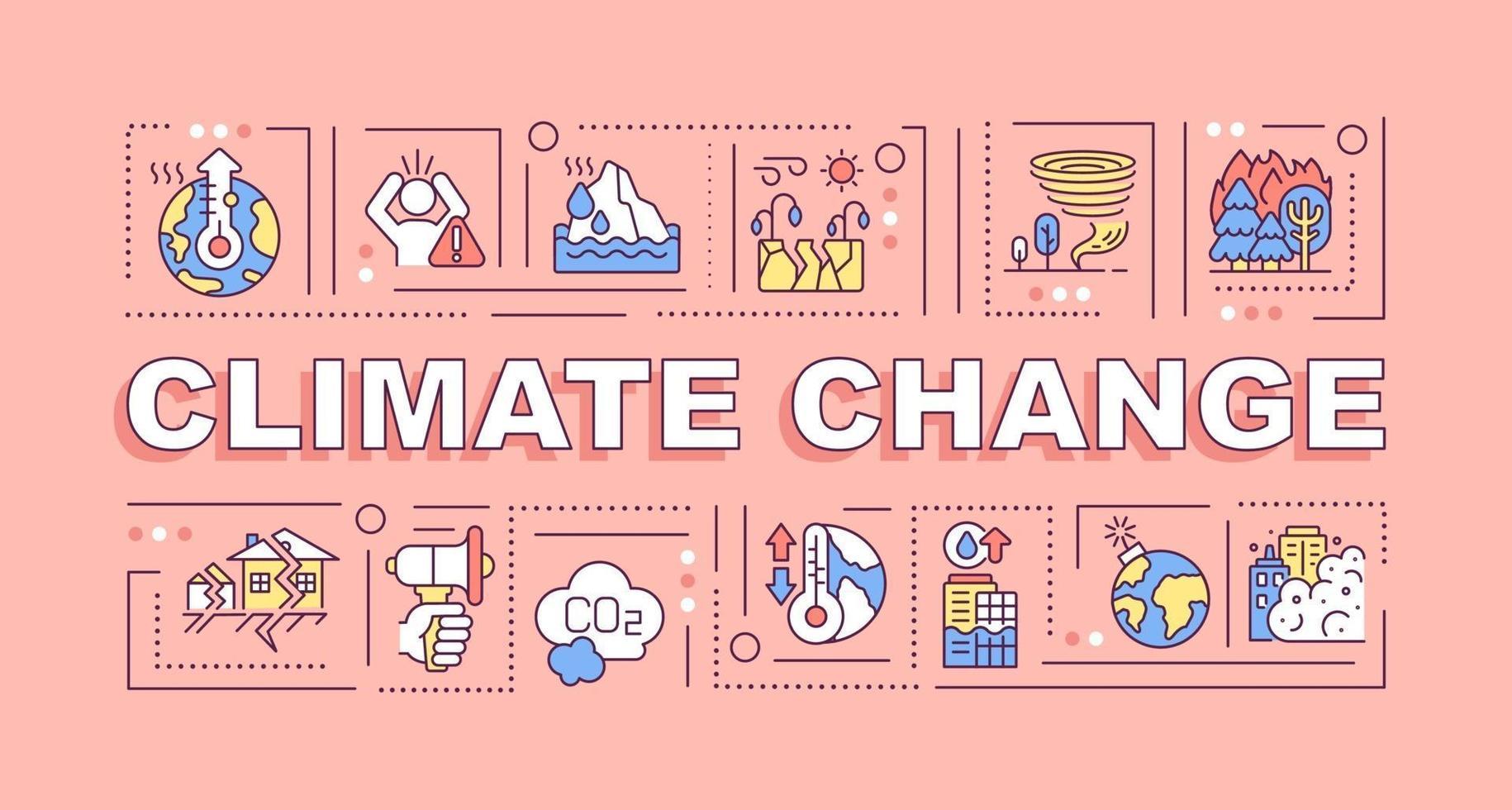 banner de conceitos de palavras de mudança climática vetor