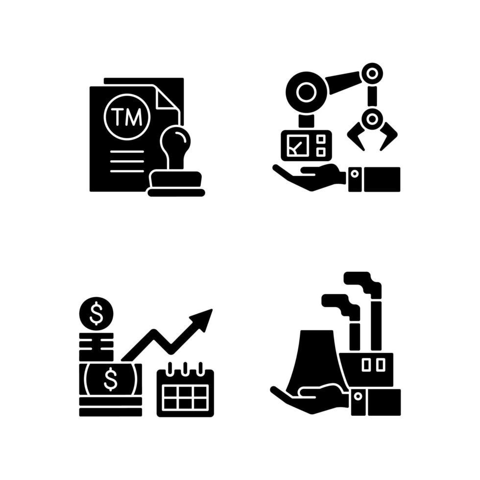 investimentos de longo prazo em negócios ícones de glifo preto definidos no espaço em branco vetor