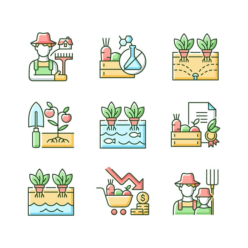 conjunto de ícones de cores rgb de agricultura vetor