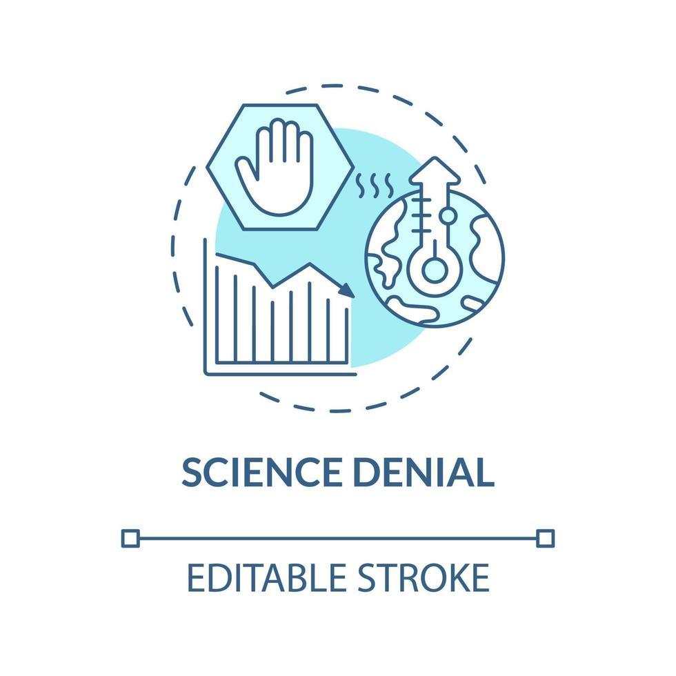 ícone de conceito azul de negação de ciência vetor