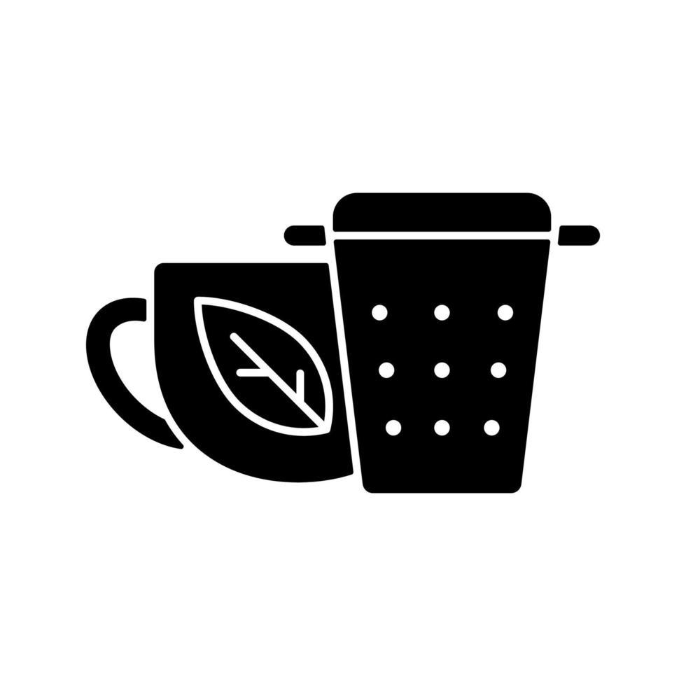 infusor de chá de metal, filtro de ícone de glifo preto vetor