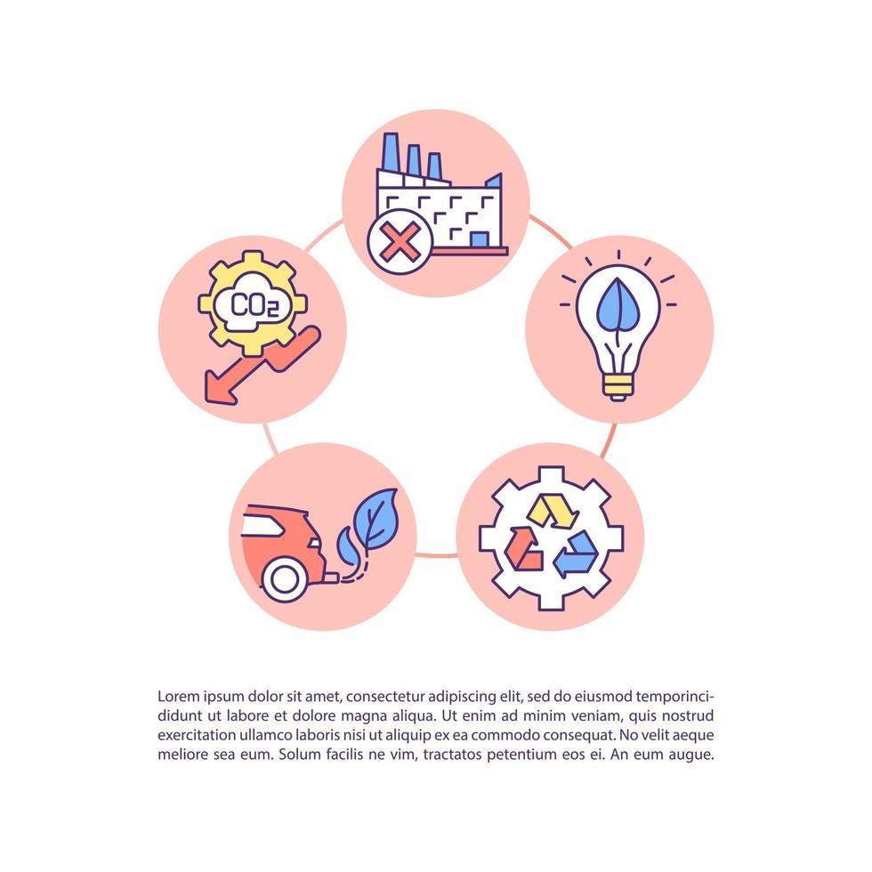 ícones de linha de conceito de política de mudança climática com texto vetor