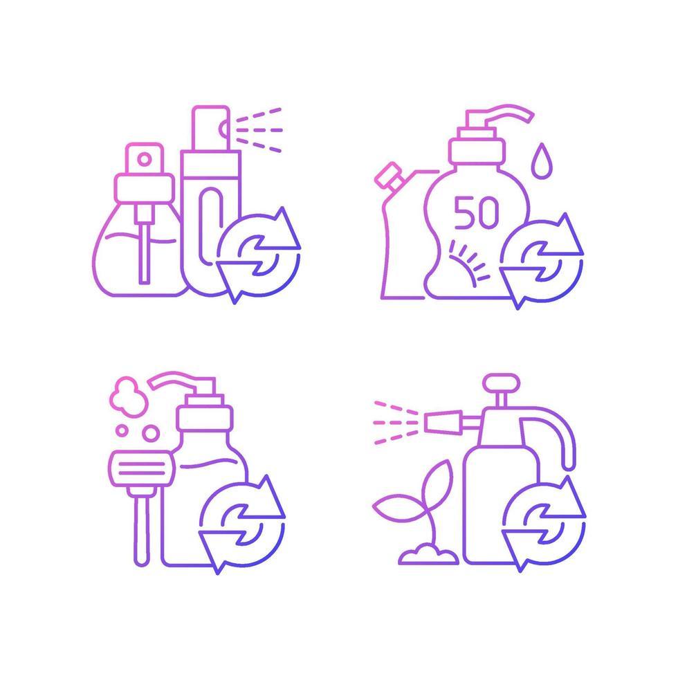 produtos refil conjunto de ícones de vetor linear gradiente de opção