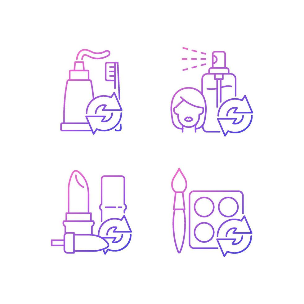 reabastecer e reutilizar o conjunto de ícones de vetor linear gradiente