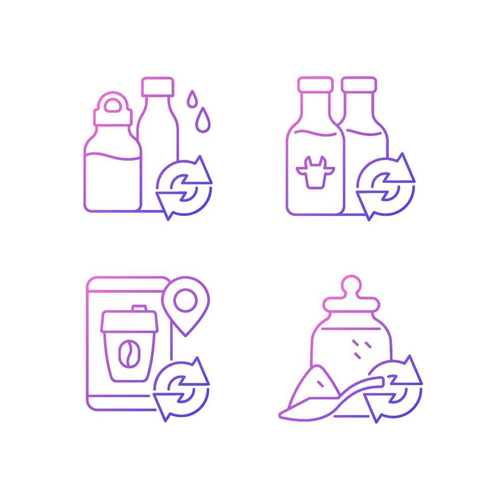 conjunto de ícones vetoriais lineares de opções recarregáveis vetor