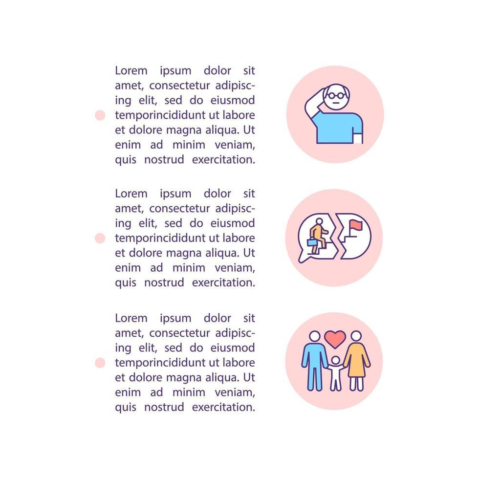 Ícones de linha de conceito de ocorrência de crise de meia-idade com texto vetor