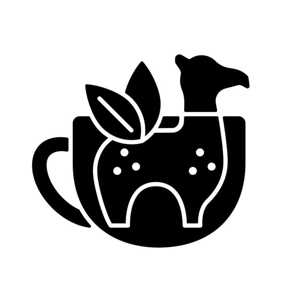ícone de glifo preto do infusor de chá de silicone vetor