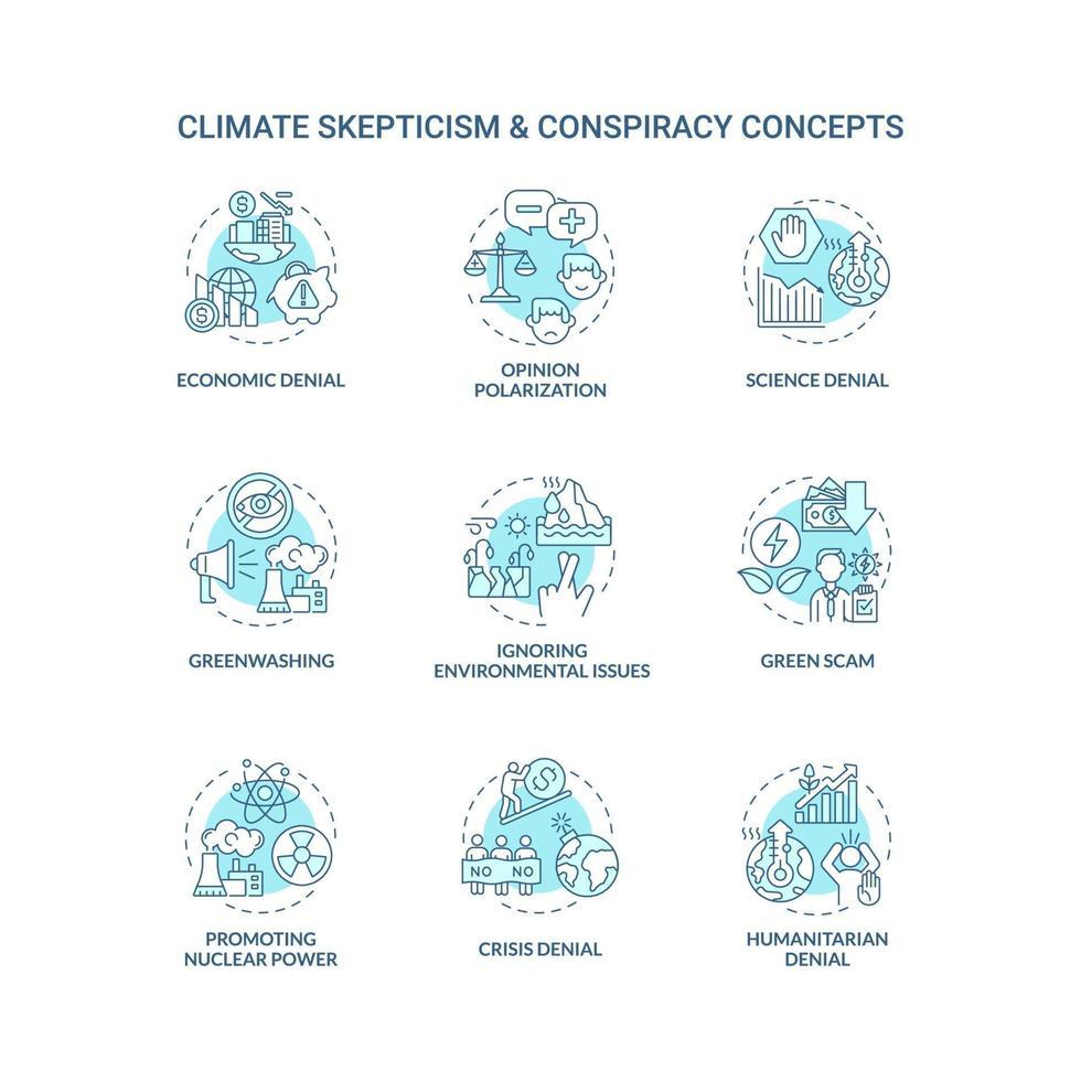 conjunto de ícones de conceito azul para ceticismo climático e conspiração vetor