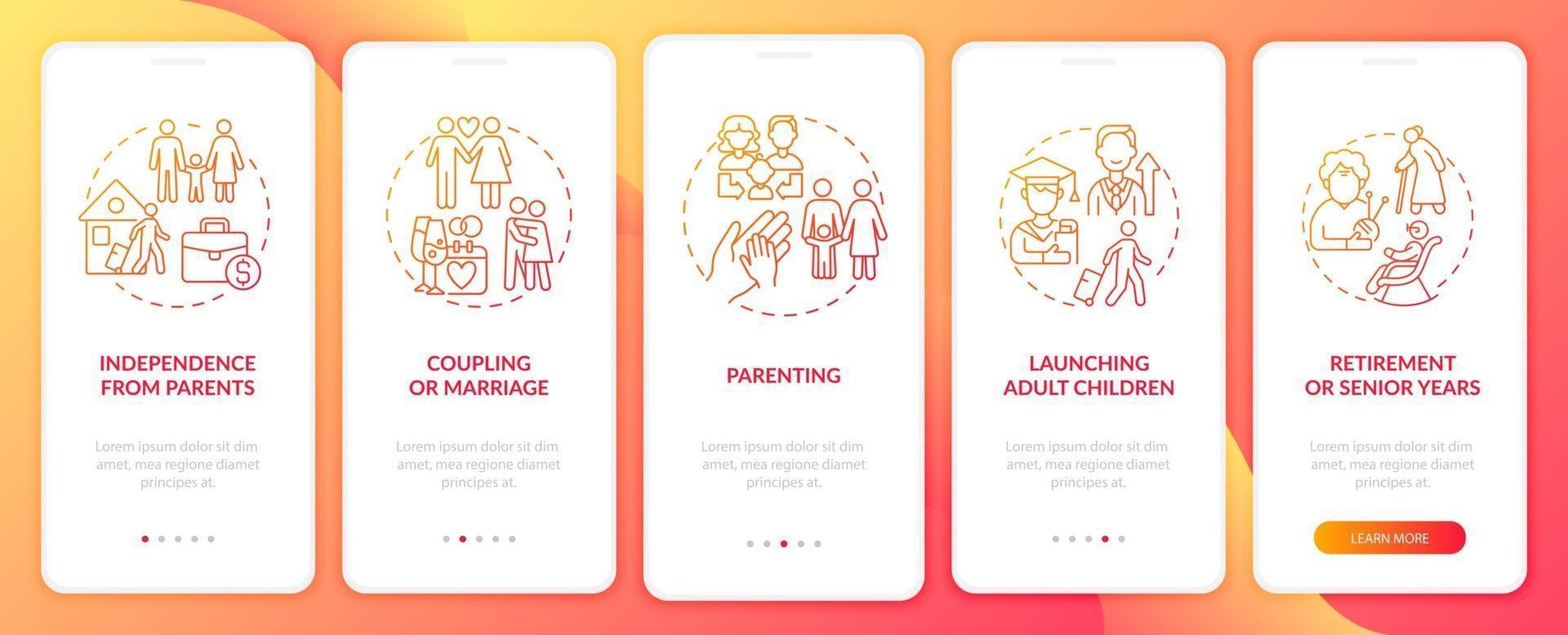 tela da página inicial do aplicativo móvel para crianças adultas vetor