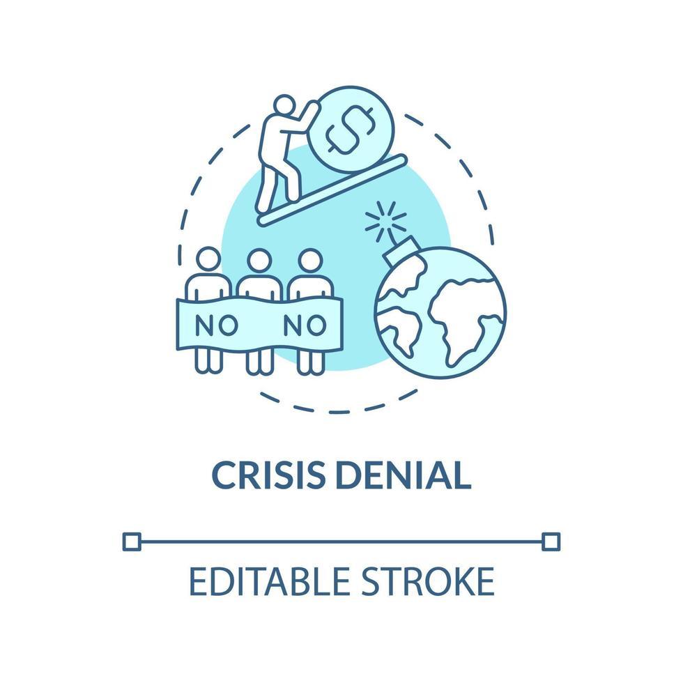 ícone de conceito azul de negação de crise vetor