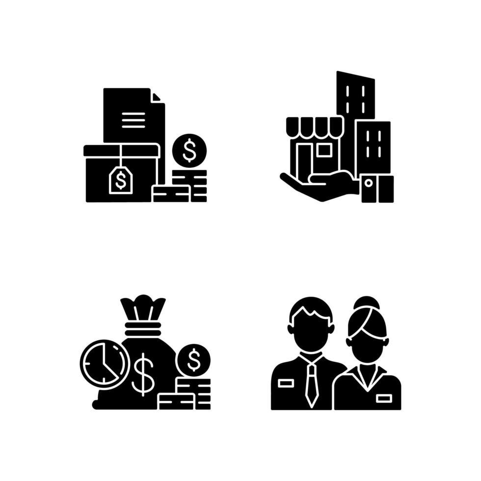 edifício propriedade ícones de glifo preto definidos em espaço em branco vetor