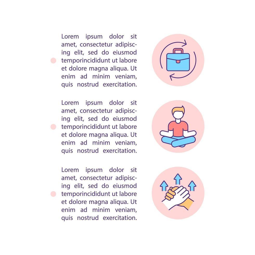 Ícones de linha de conceito de prevenção de crise de meia-idade com texto vetor