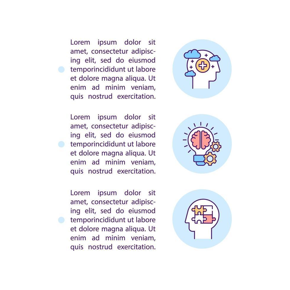 ícones de linha de conceito de desenvolvimento cognitivo adulto com texto vetor