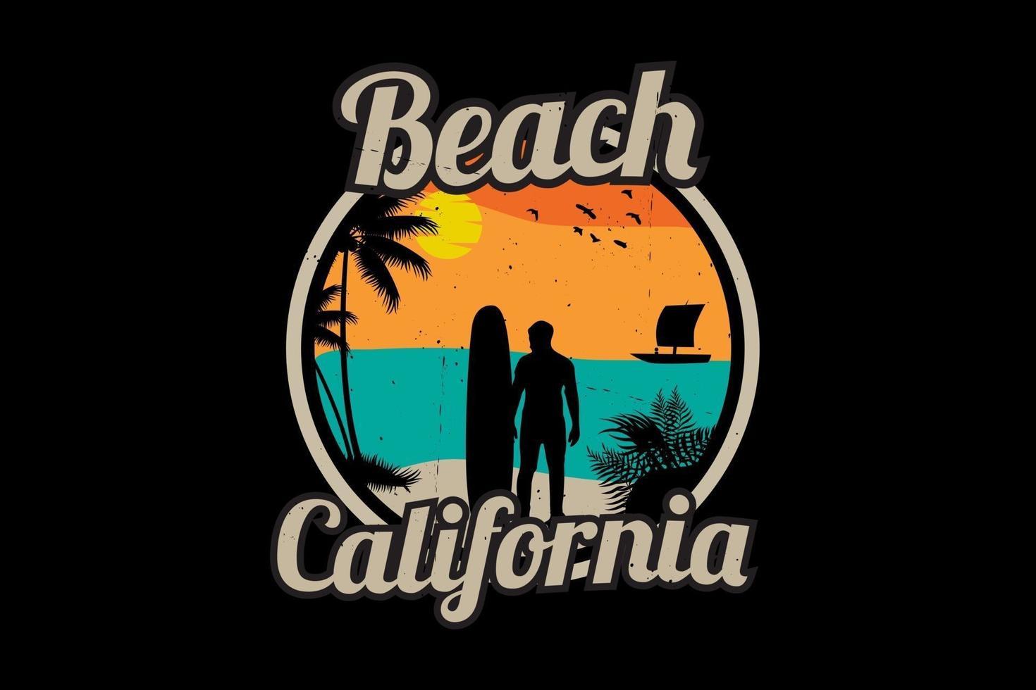 desenho da silhueta da praia na califórnia vetor