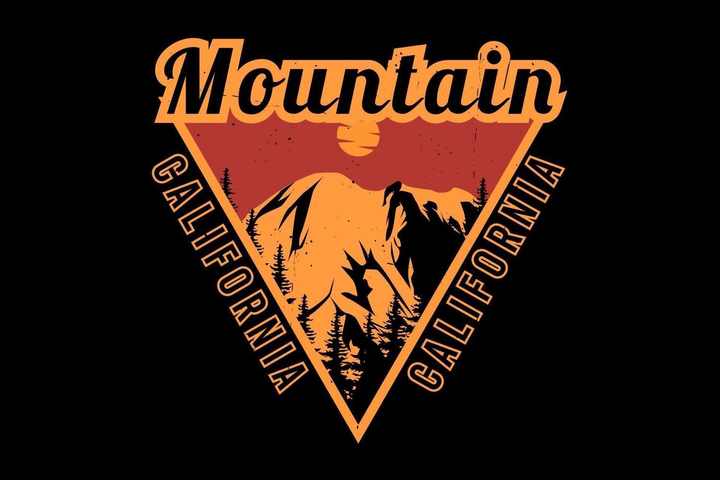 desenho da silhueta da montanha califórnia vetor