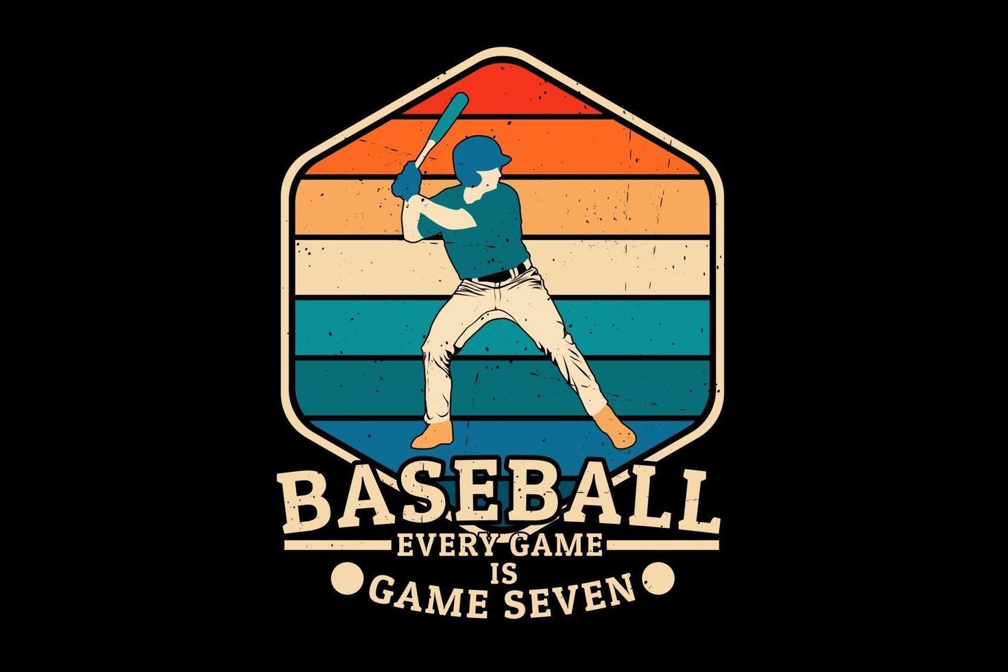 beisebol, cada jogo é um jogo de sete silhuetas de design vetor