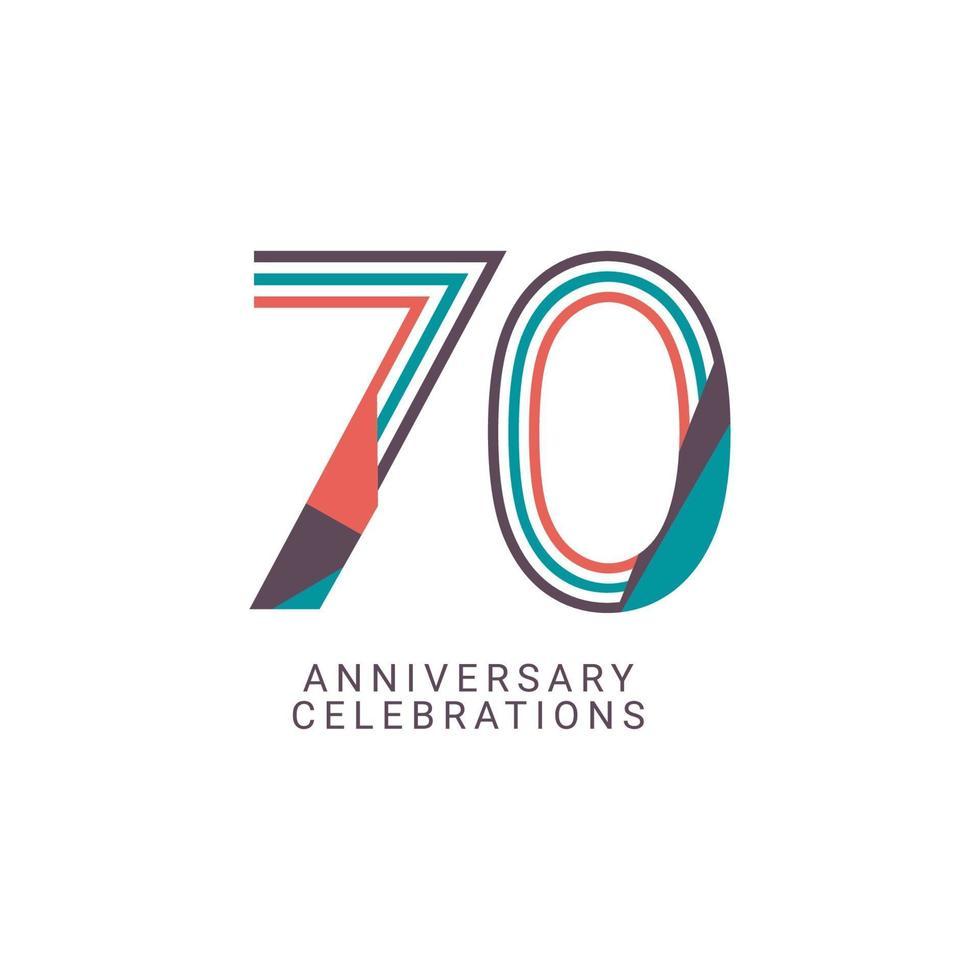 Ilustração de design de modelo vetorial celebração de aniversário de 70 anos vetor