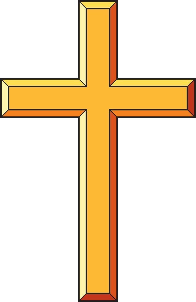 cruz cristã dourada vetor