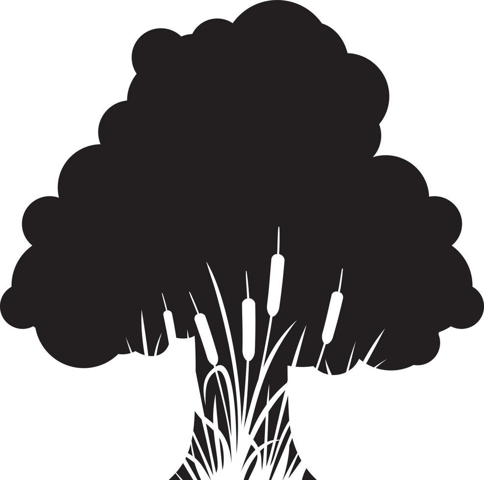 silhueta de árvores e juncos vetor