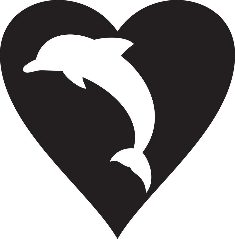 golfinho e coração vetor