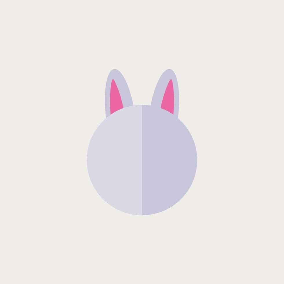 personagem de cabeça de coelho bonito, ilustração em vetor design plano.