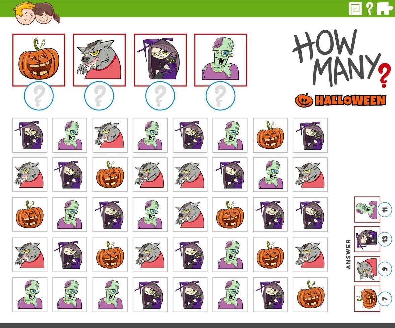 quantos personagens de desenhos animados do Dia das Bruxas contando o jogo vetor