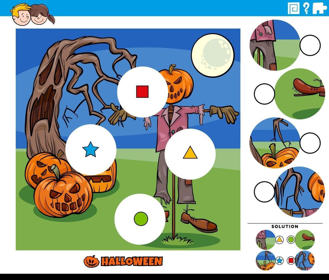 jogo de combinar peças com personagens de desenhos animados de halloween vetor