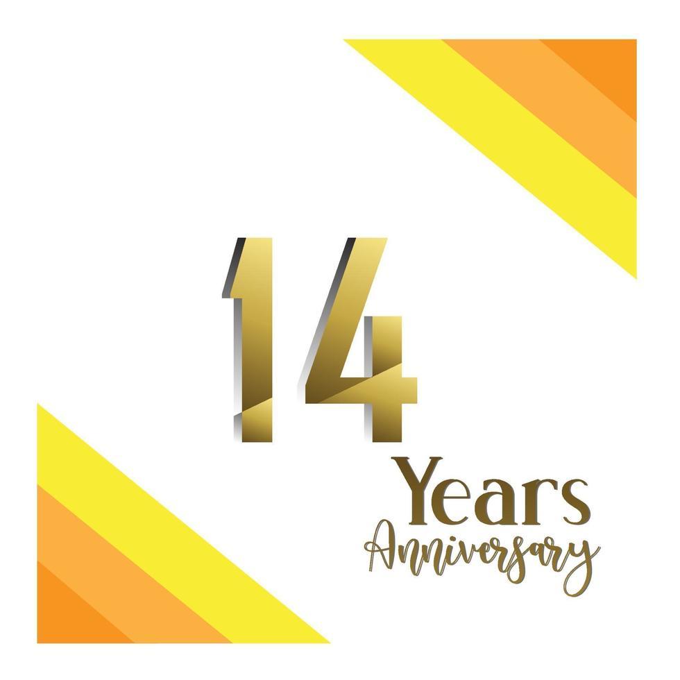 Festa do 14º aniversário. ilustração vetorial. modelo de números para comemorar. vetor