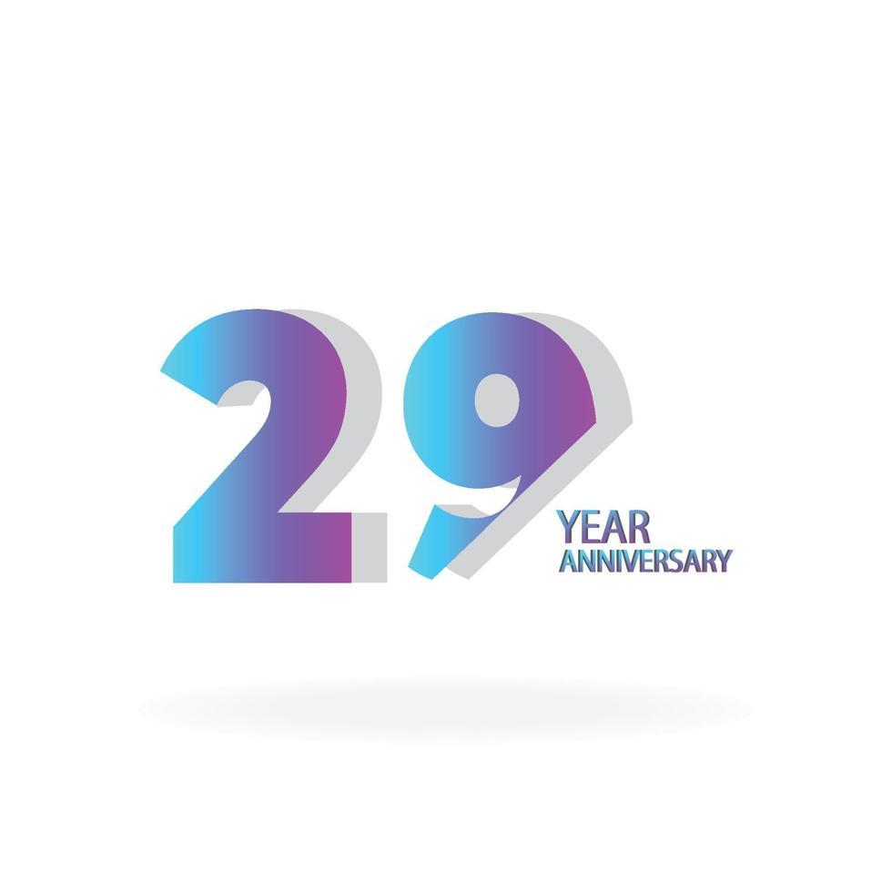 Festa do 29º aniversário. ilustração vetorial. modelo de números para comemorar. vetor