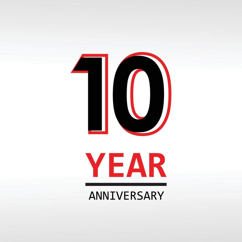 Ilustração de design de modelo vetorial de aniversário de 10 anos vetor
